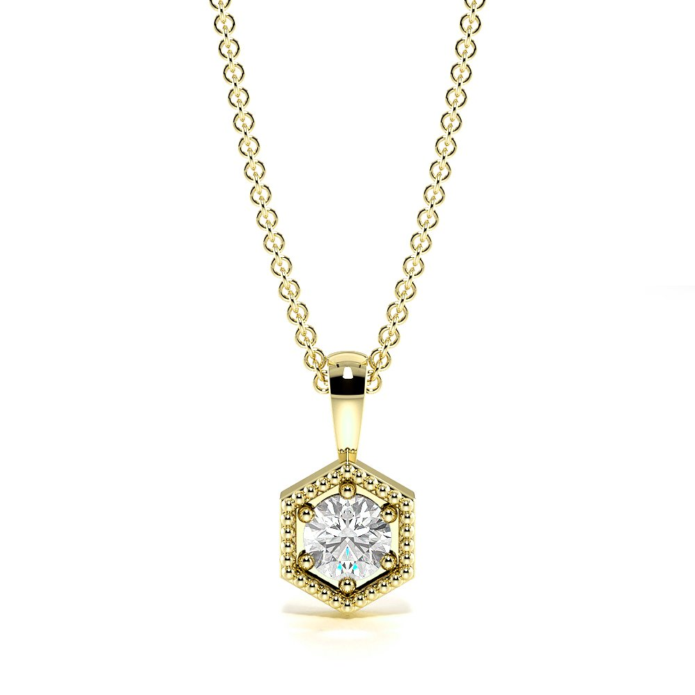6 Prong Hexagon Single diamond solitaire necklace (9.00mm X 4.70mm)