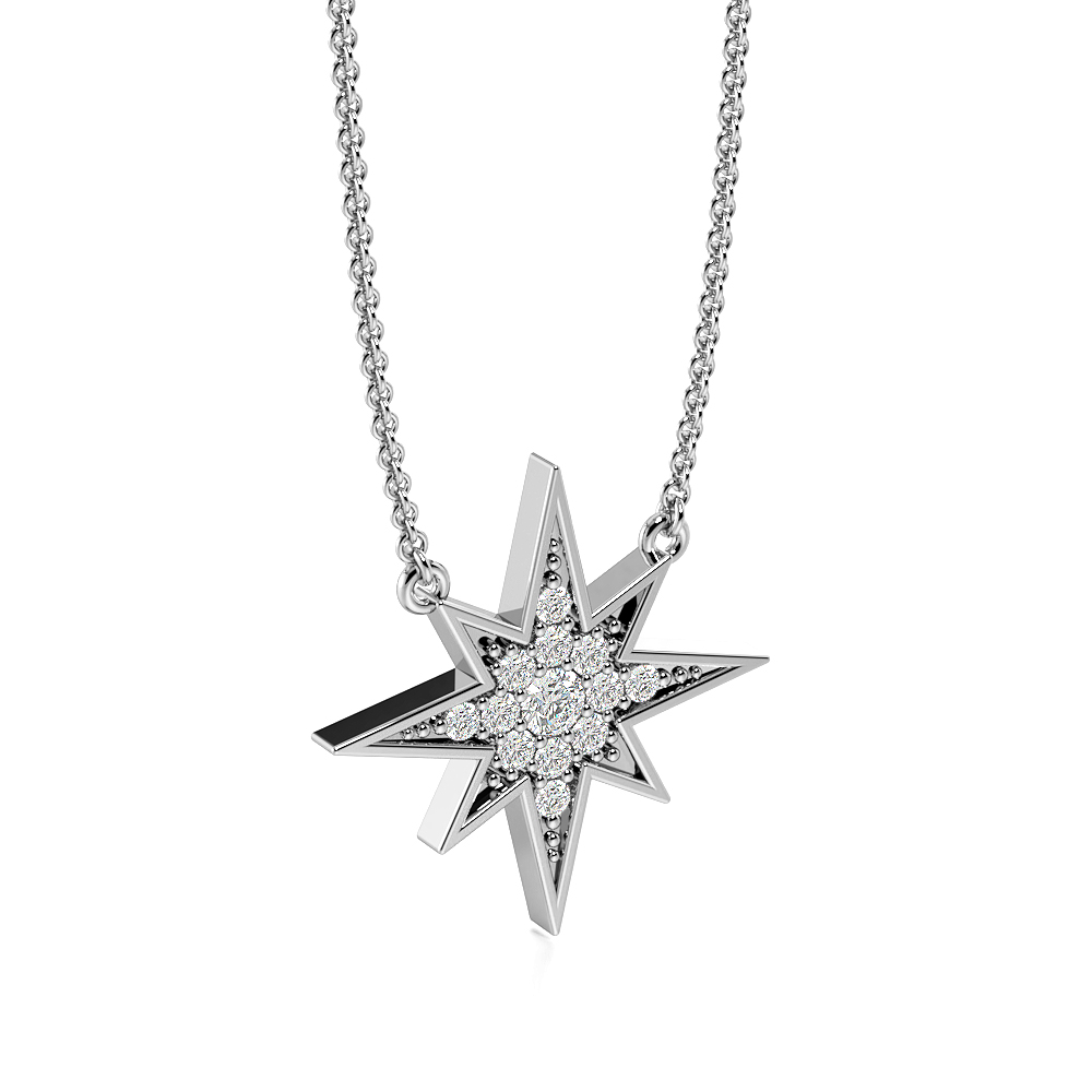 Pave Setting Shooting Star Diamond Statement Necklaces (14.00mm X 14.00mm)