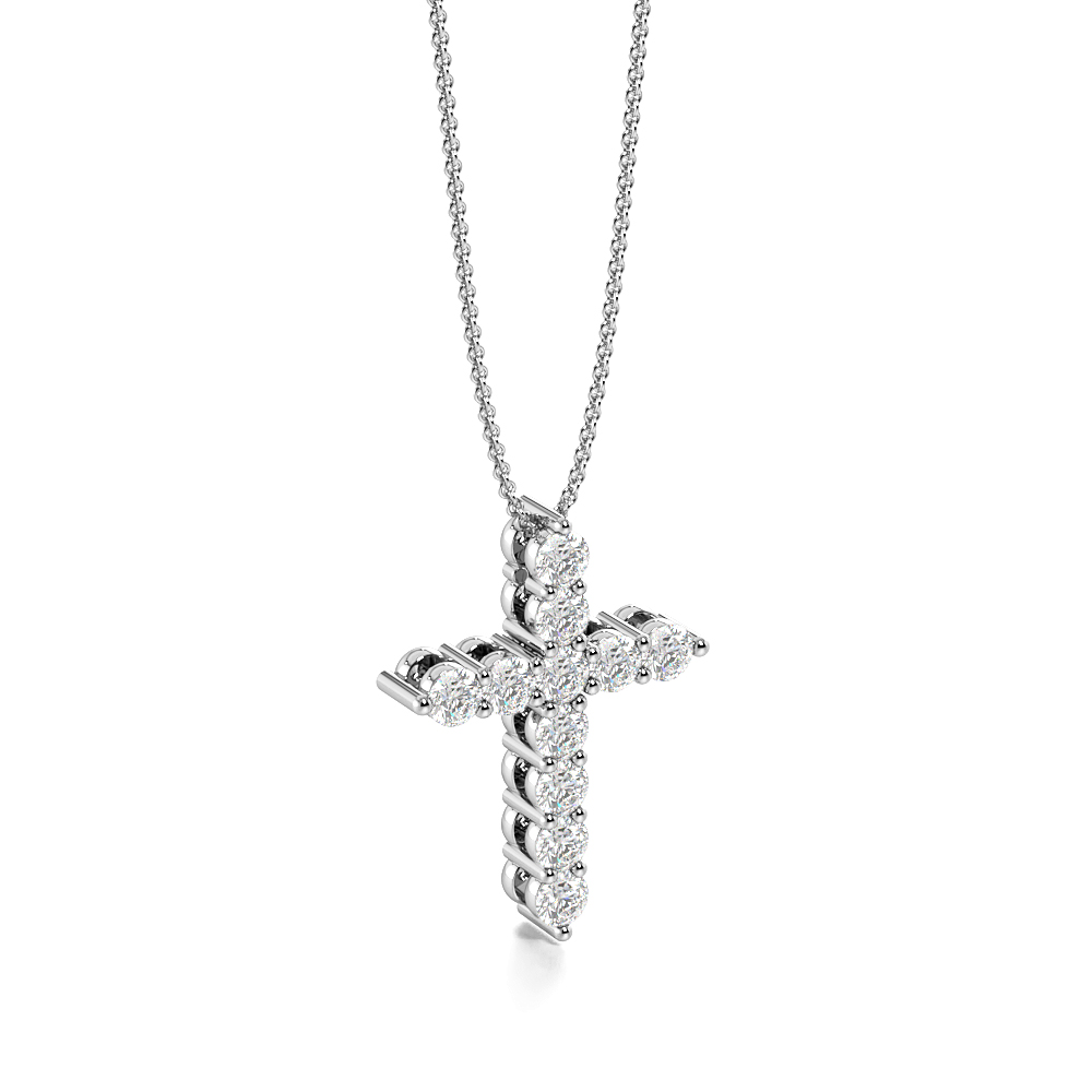 4 Prongs Classic Gold Diamond Cross Necklace for Womens (15.0mm X 11.00mm)