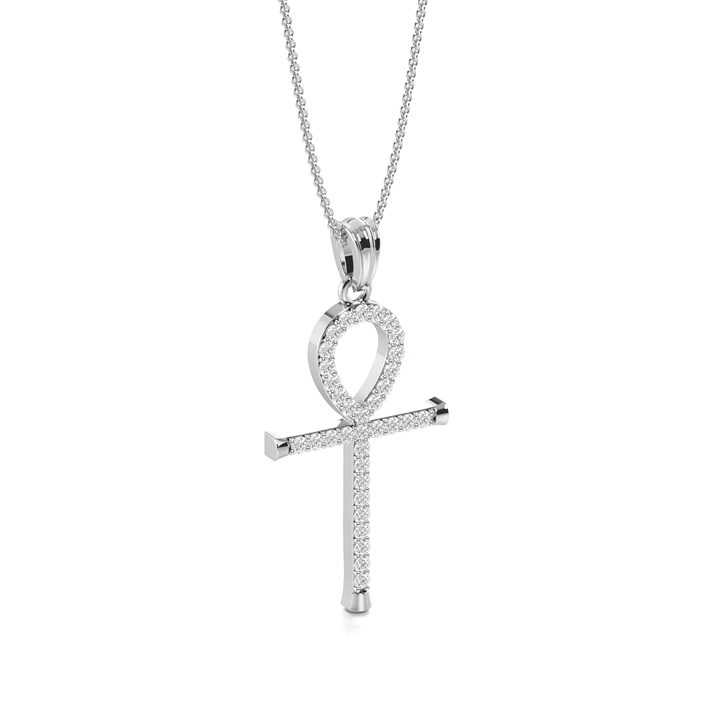 Pave Setting Ankh Platinum and  Gold Diamond Cross Necklace (27.0mm X 13.0mm)