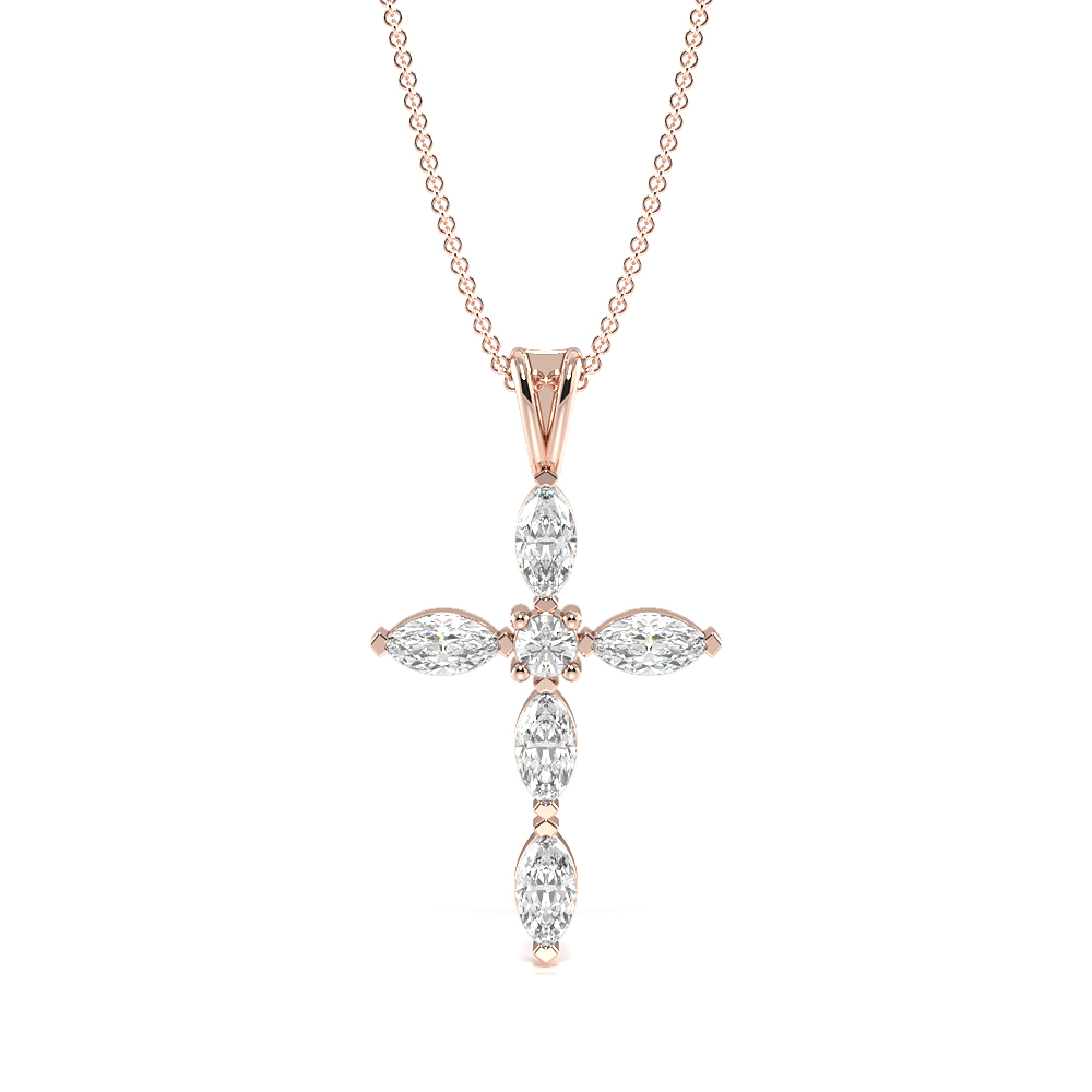 Marquise Cut Unique Diamond Cross Necklace for Womens (20.30mm X 11.50mm)
