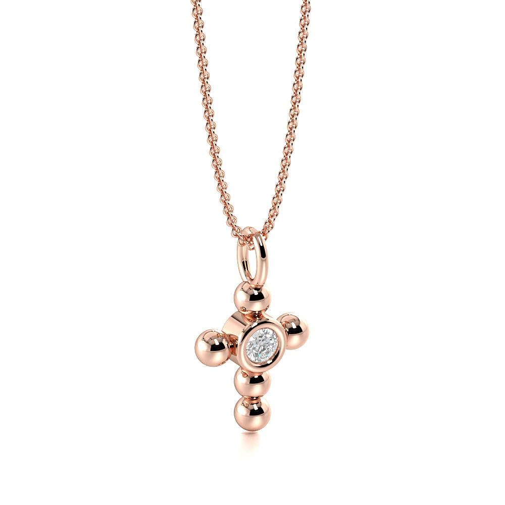 Bezel Set Minimalist Platinum and  Gold Diamond Cross Necklace  (12.0mm X 7.0mm)