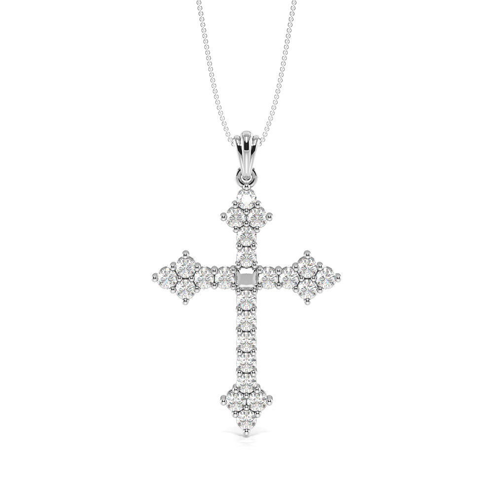 Pave Setting Cluster Platinum and  Gold Diamond Cross Necklace (44.0mm X 27.40mm)