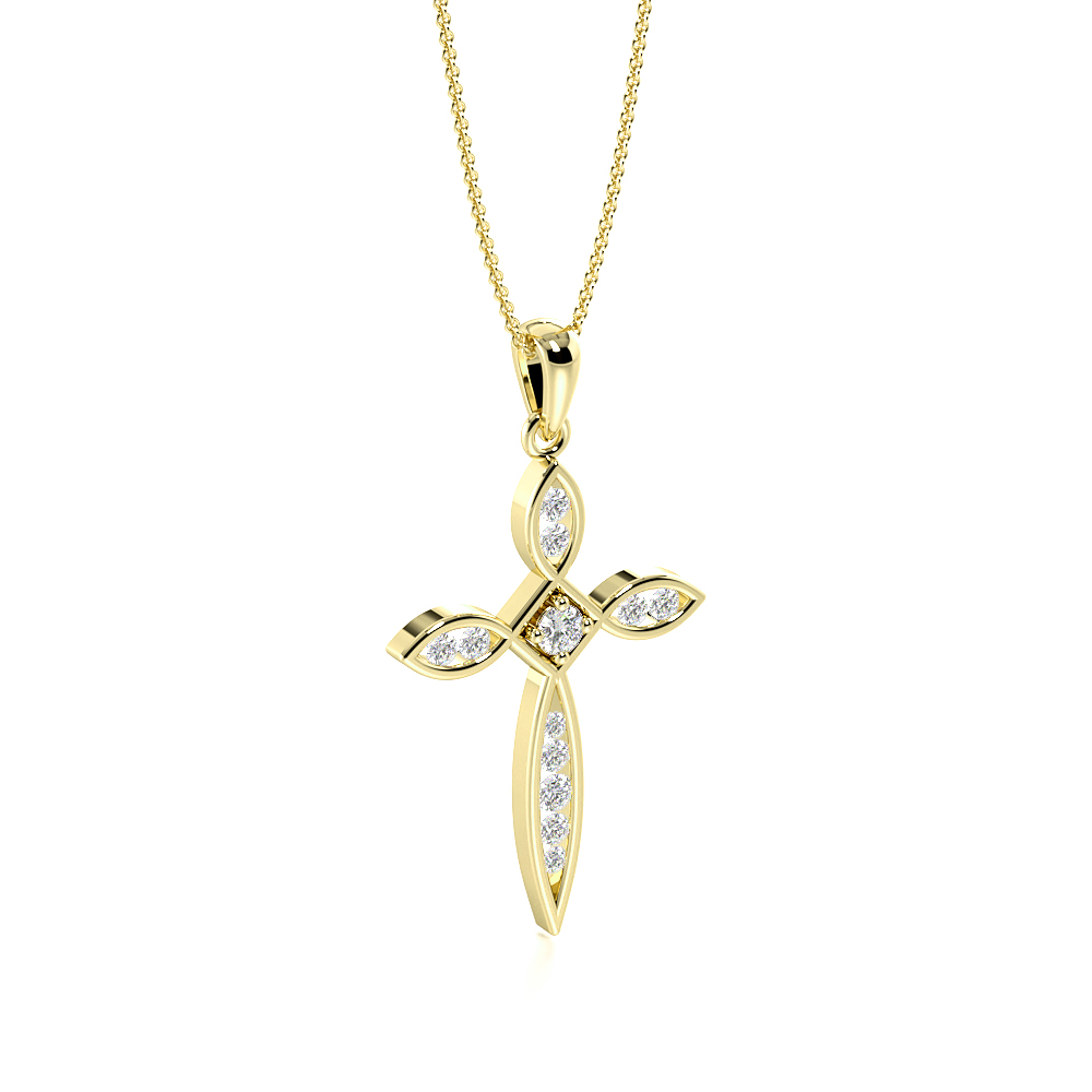 Channel Setting Designer Platinum and  Gold Diamond Cross Necklace  (30.0mm X 16.0mm)