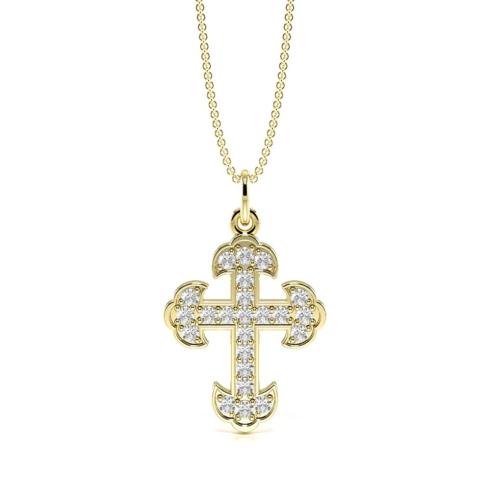 Pave Setting Vintage Design Cross Necklace for Womens (19.0mm X 12.0mm)