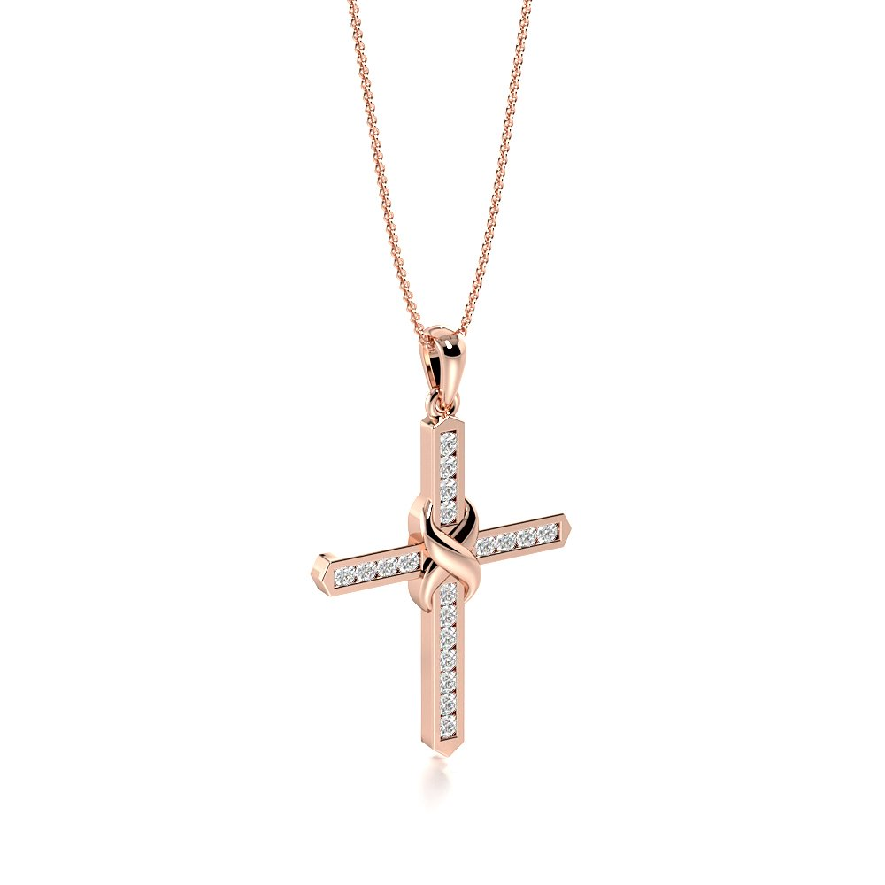 Knot Style Platinum and  Gold Cross Pendant Necklace for Womens (30.20mm X 19.0mm)