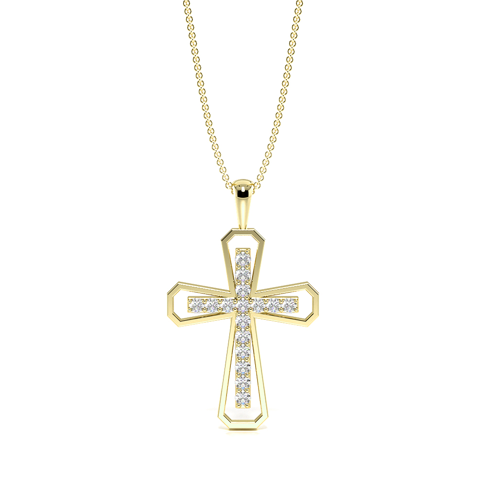 Pave Setting Designer Platinum and  Gold Cross Pendant Necklace (26.0mm X 15.80mm)
