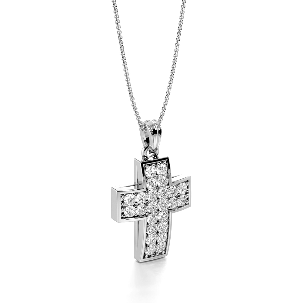 Pave Setting 2 Raw Platinum and  Gold Cross Pendant Necklace (21.0mm X 12.0mm)
