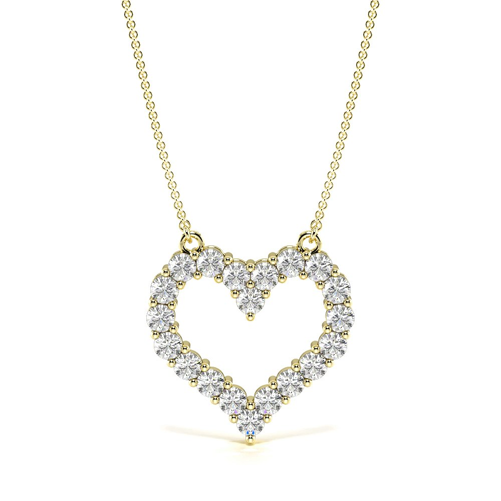 4 Prongs Diamond Heart Necklace in Gold and Platinum (16.70mm X 16.40mm)
