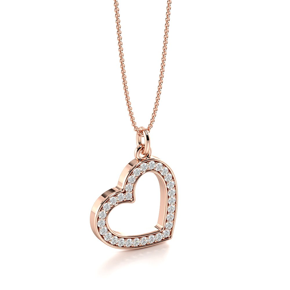 Pave Setting Dangling Heart Pendant Necklace for Women (16.0mm X 12.0mm)