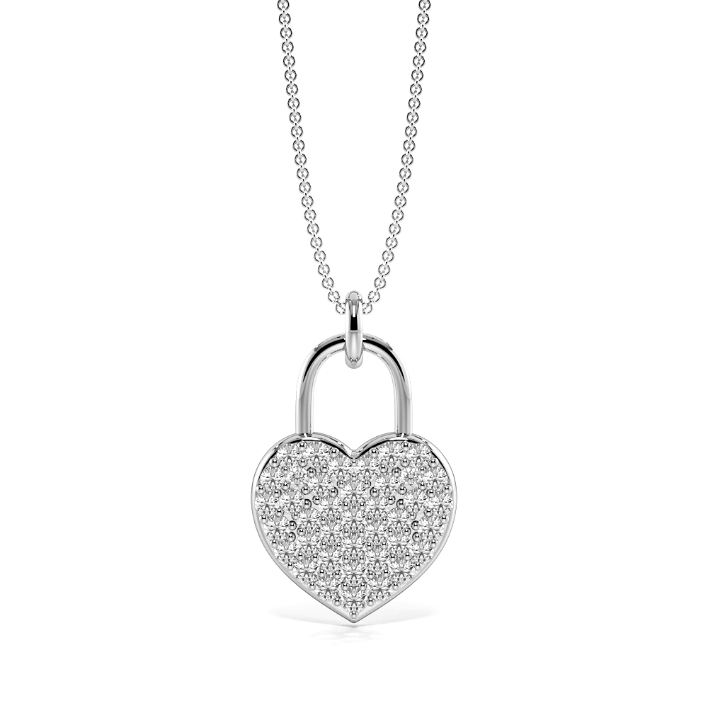 Pave Setting Lock Design Gold & Platinum Diamond Heart Necklace (16.60mm X 10.40mm)
