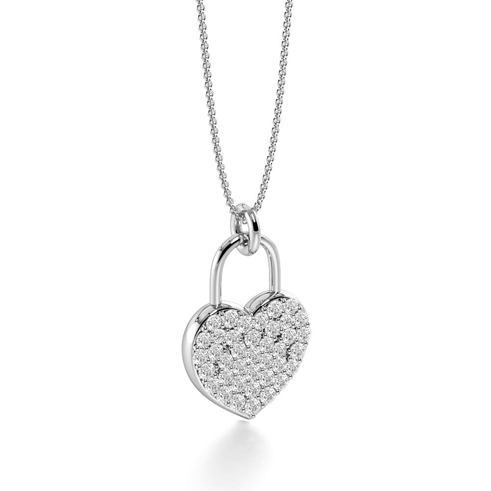Pave Setting Lock Design Gold & Platinum Diamond Heart Necklace (16.60mm X 10.40mm)