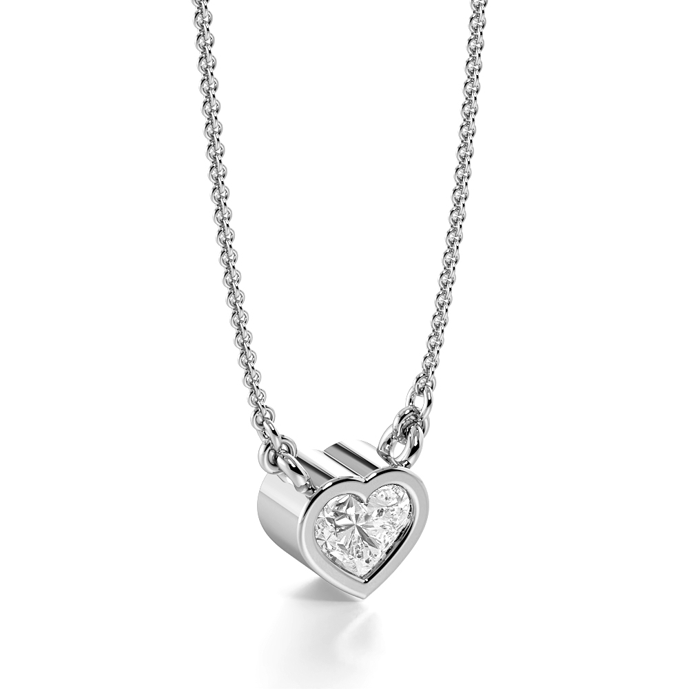Pave Setting  Heart Cut Single diamond solitaire necklace (6.0mm X 5.70mm)