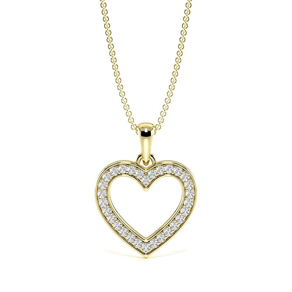 Pave Set Diamond Heart Necklace in Gold and Platinum (16.20mm X 12.50mm)