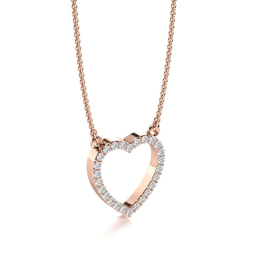 Buy Pave Setting Open Heart Diamond Heart Necklace Pendant Abelini