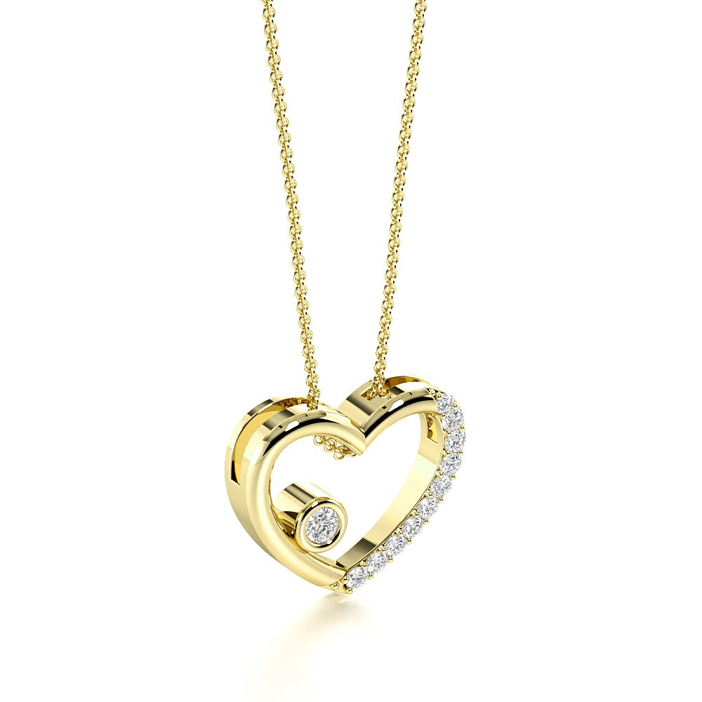 4 Prongs Designer Diamond Heart Necklace with Chain (11.0mm X 12.80mm)
