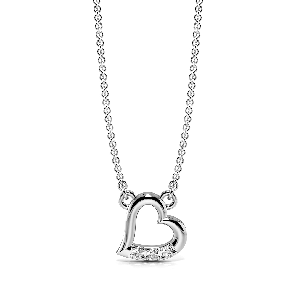 Pave Setting Diamond Tiny Heart Necklace for Women (6.50mm X 6.50mm)
