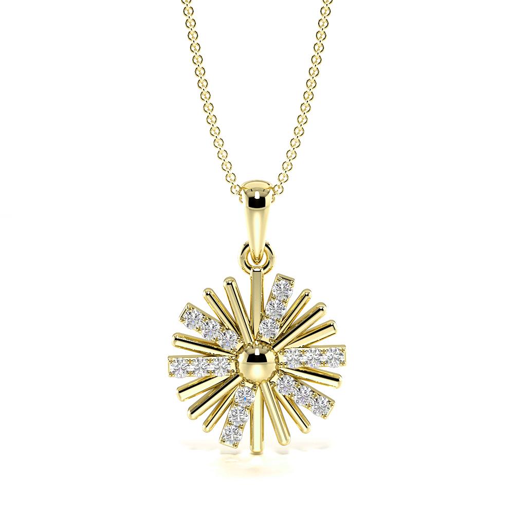 Spinning Catherine Wheel Diamond Statement Necklaces (19.0mm X 12.30mm)