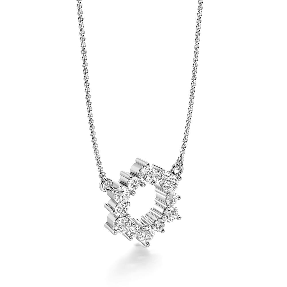 4 Prongs Firing Diamond Circle Pendant Necklace (11.50mm X 10.0mm)
