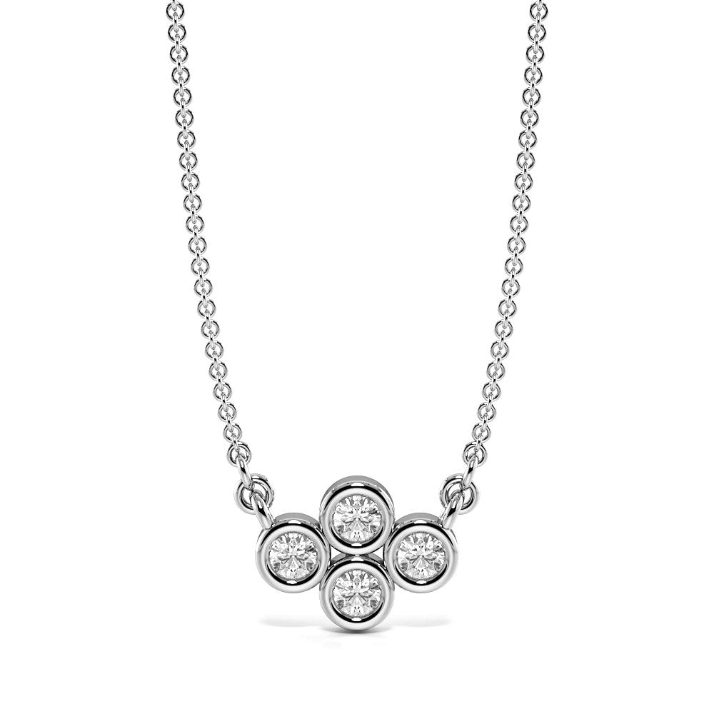 Bezel Set Four Diamond Cluster Pendant Necklace (5.80mm X 7.80mm)