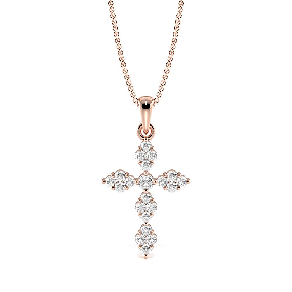 Bezel Set Delicate Cluster Cross Pendant Necklace (22.0mm X 12.0mm)