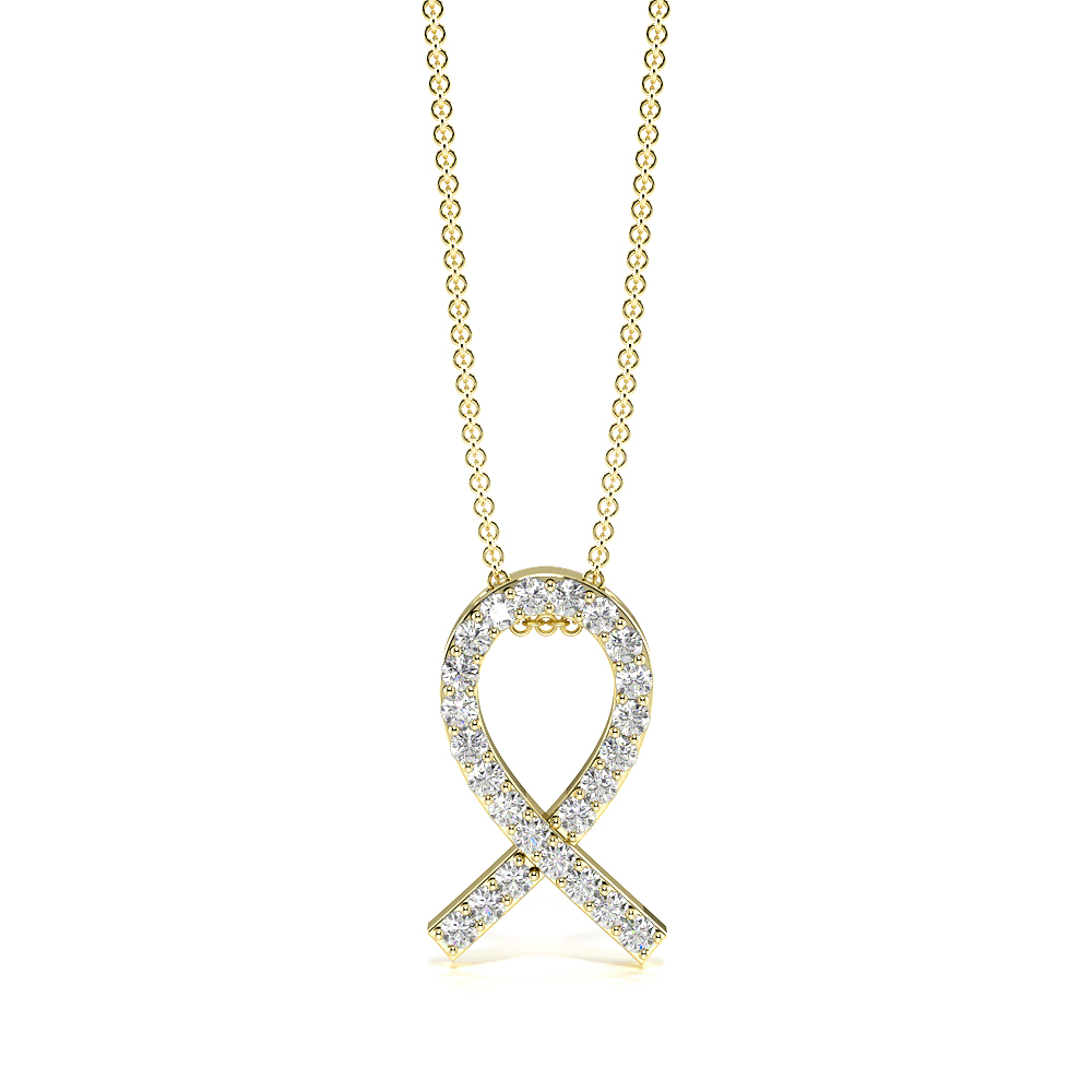 Pave Setting Ribbon Designer Pendant Necklace (12.50mm X 7.70mm)