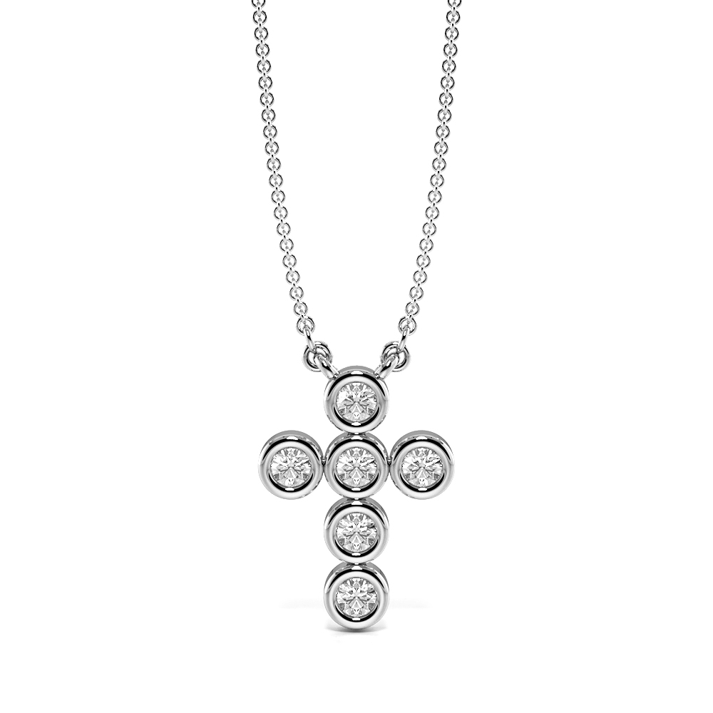 Bezel Set Elegant Platinum and  Gold Diamond Cross Necklace (14.0mm X 9.80mm)
