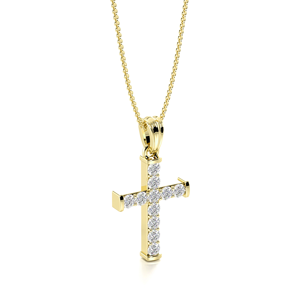 Pave Setting Classic Platinum and  Gold Diamond Cross Necklace  (19.60mm X 10.50m)