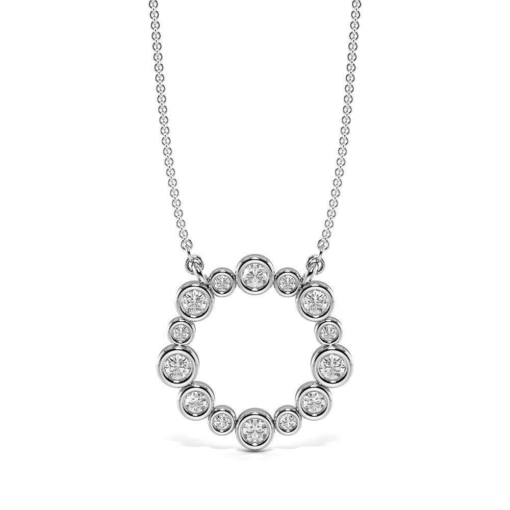 Bezel Set Beautiful Diamond Circle Pendant Necklace (15.20mm X 15.40mm)