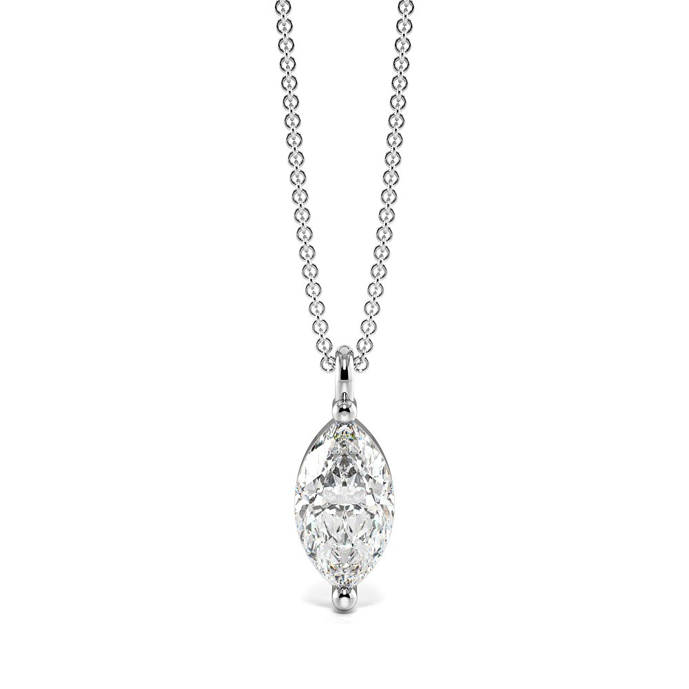 Dangling Marquise Shape Single diamond solitaire necklace (11.50mm X 4.30mm)