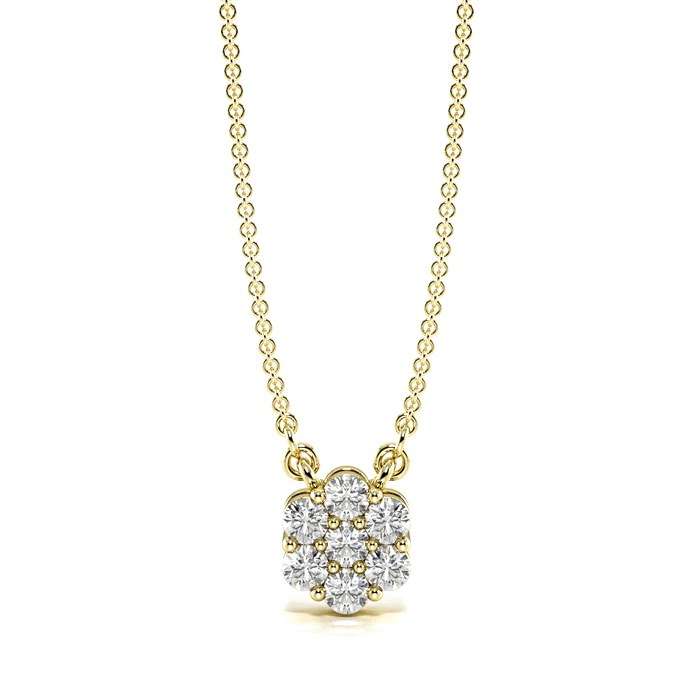 4 Prongs Diamond Cluster Necklace for Women (6.20mm X 5.30mm)