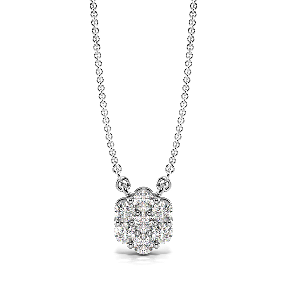 Diamond Cluster Pendant Necklace in Gold and Platinum (7.0mm X 5.80mm)