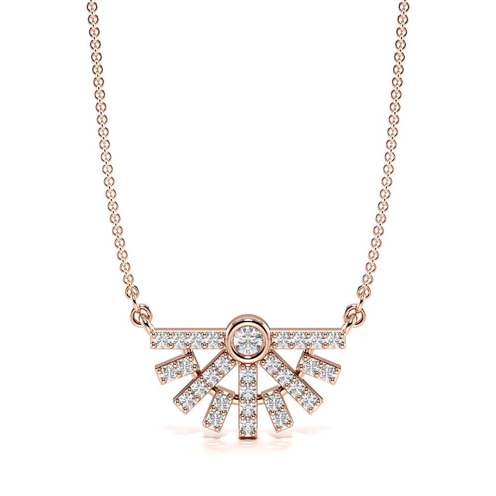 Bezel Set Unique Designer Diamond Pendant Necklace (8.0mm X 14.40mm)