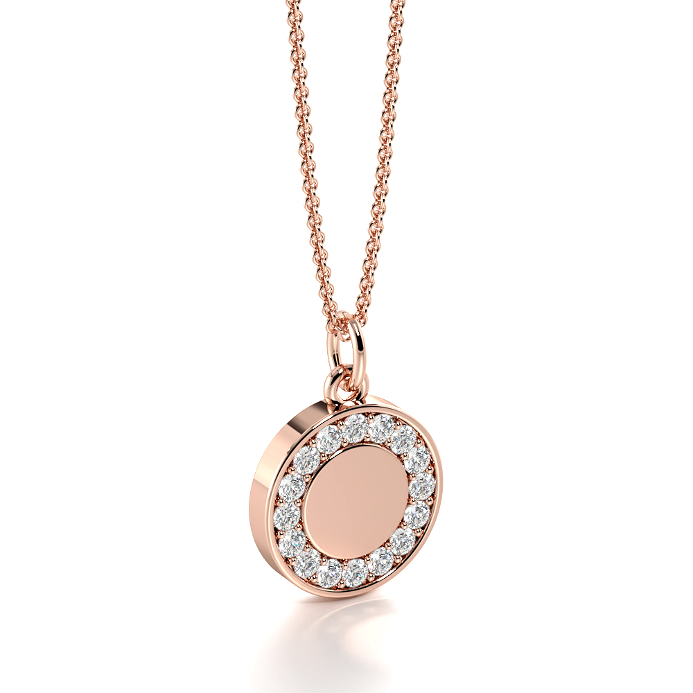 Pave Setting Disc Diamond Circle Pendant Necklace (13.0mm X 9.0mm)