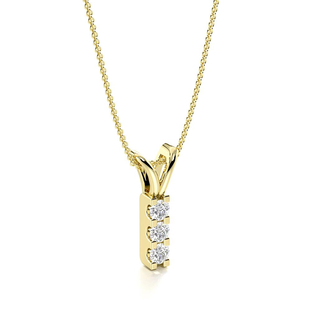 4 Prongs U Prong Setting Round Diamond Drop Necklace (14.00mm X 2.60mm)