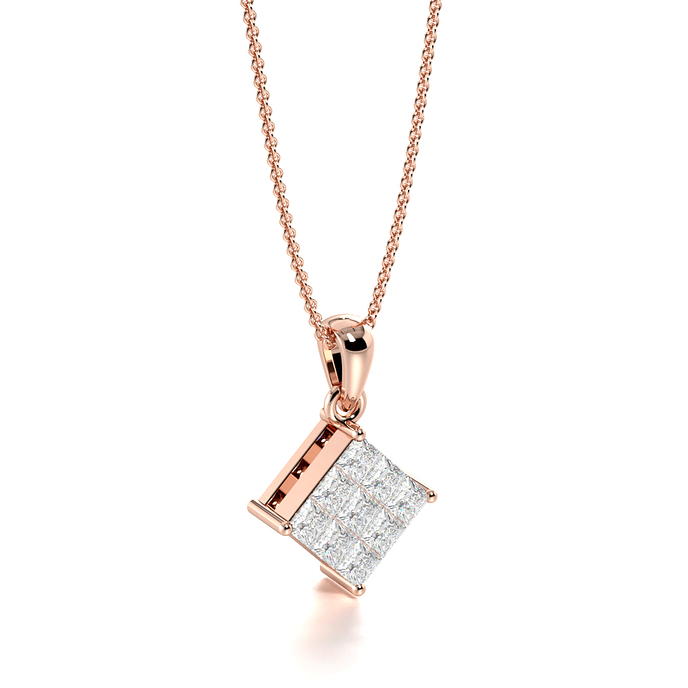 Invisible Set Princess Cut Cluster Diamond Necklace for Women (15.00mm X 9.40mm)