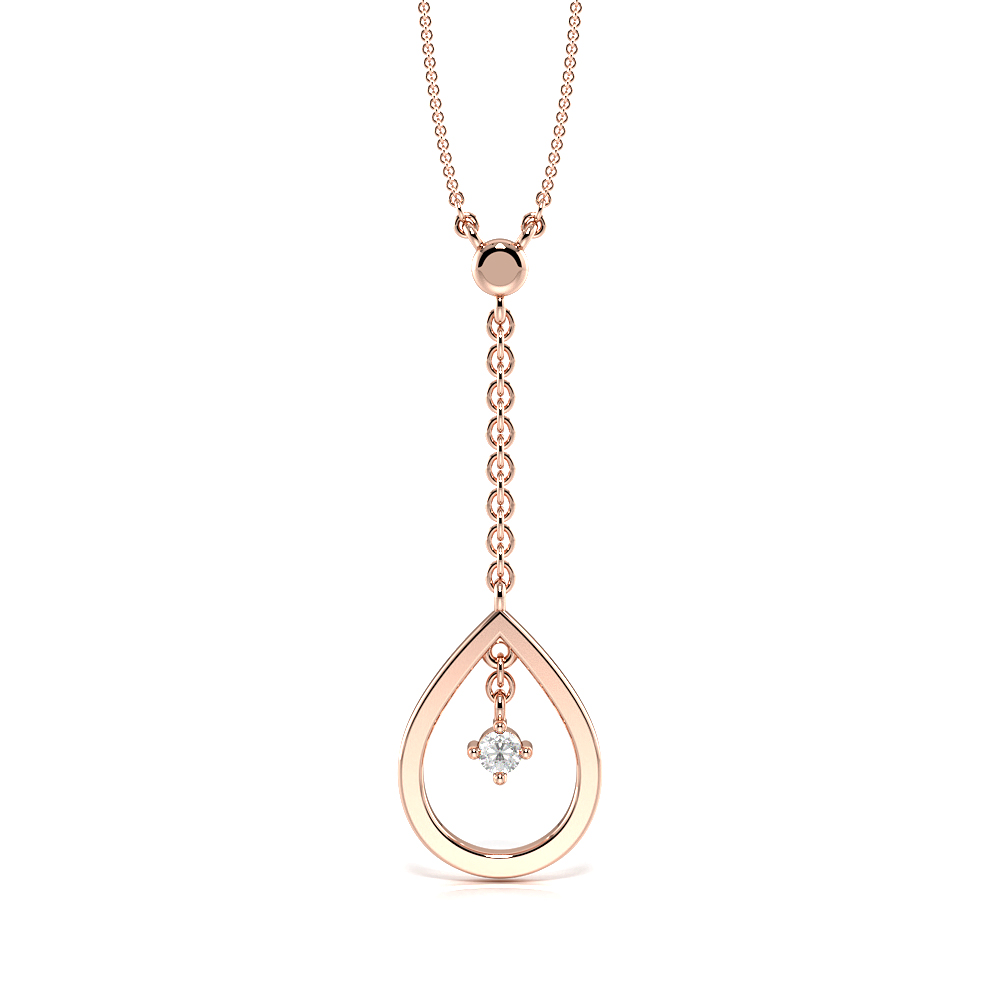 4 Prongs Delicate Drop Statement Pendant Necklace (18.00mm X 12.00mm)