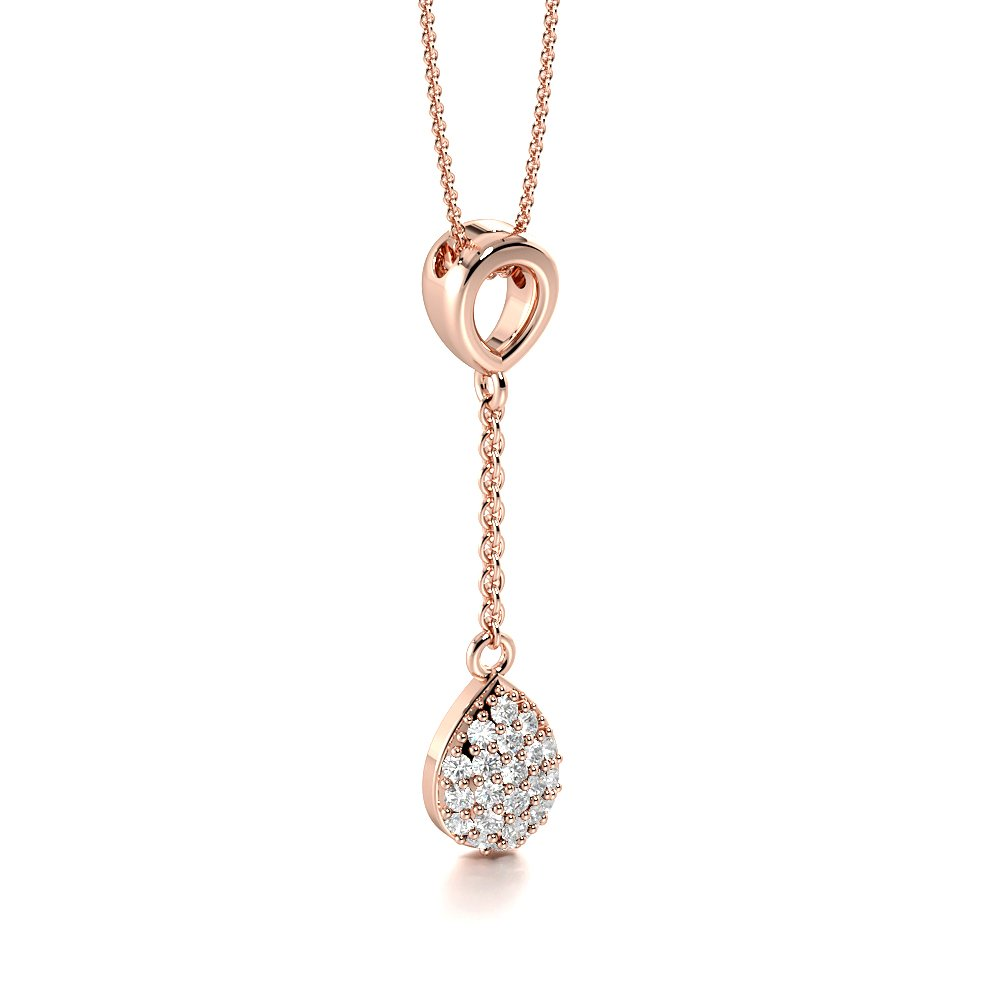 Pave Setting Cluster Drop Diamond Pendant with Chain (29.00mm X 6.50mm)