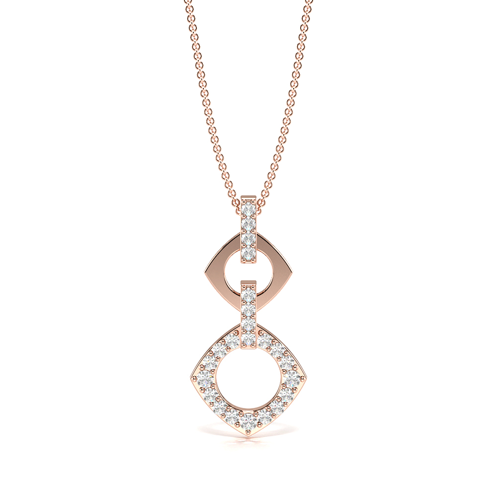 Pave Setting Round Cut Designer Drop Necklace & Chain (21.00mm X 10.00mm)