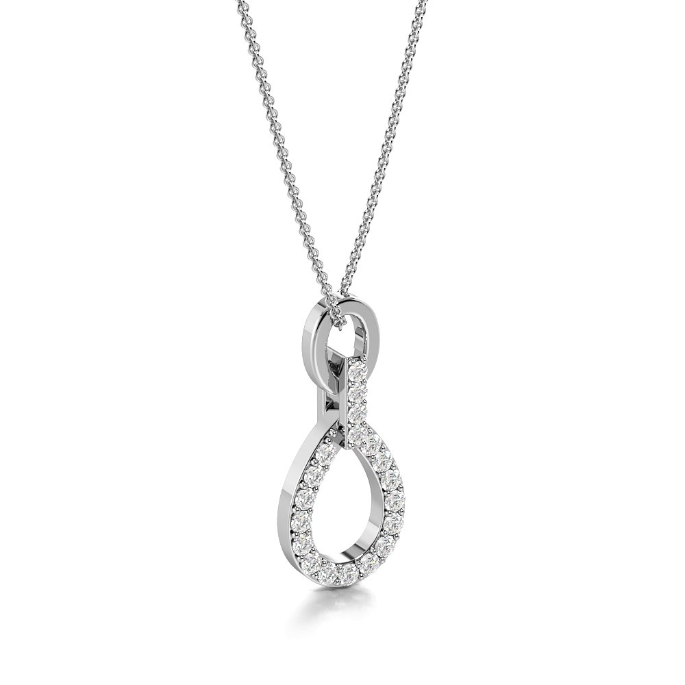 Pave Setting Designer Drop Pendant for Women (18.00mm X 7.70mm)