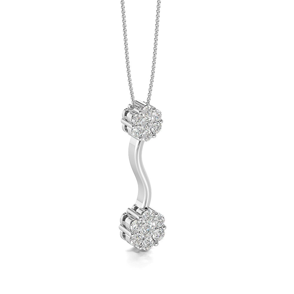 Pave Setting Cluster Drop Pendant Necklace for Women (27.00mm X 7.40mm)