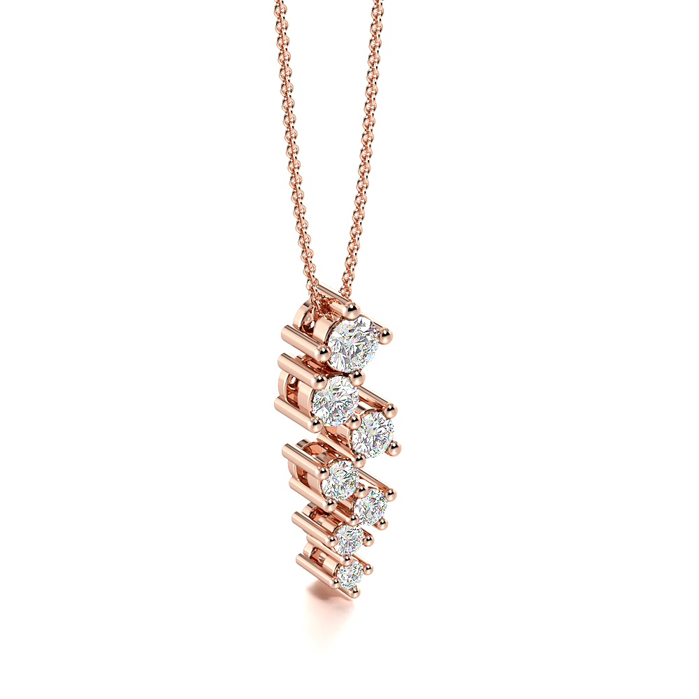 4 Prongs Round Diamond Uneven Statement Necklace (16.40mm X 5.30mm)