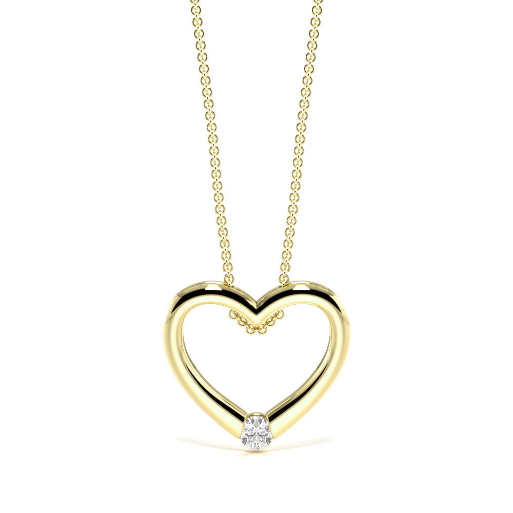Channel Setting Single Diamond Heart Necklace (11.50mm X 12.60mm)