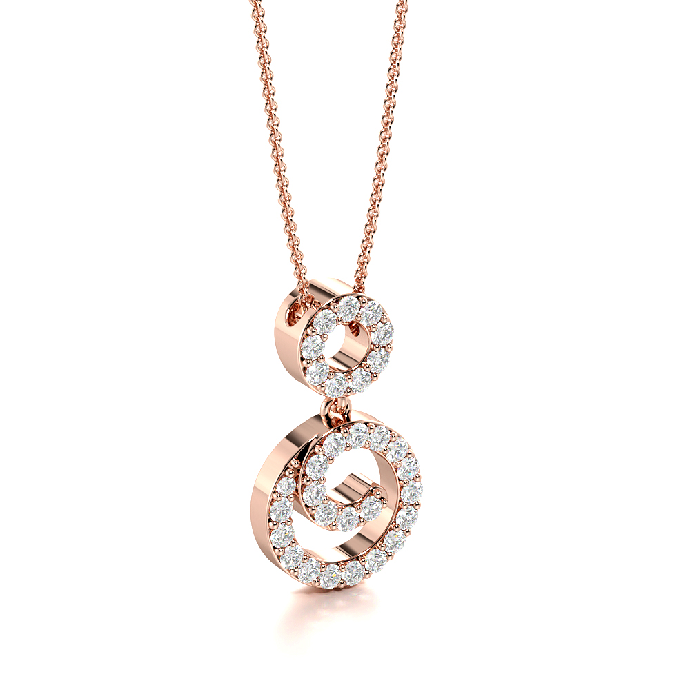 Pave Setting Drop Diamond Statement Necklaces for Women (16.30mm X 9.20mm)