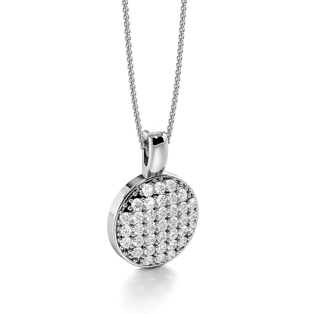 Pave Setting Dangling Disc Diamond Circle Pendant Necklace (16.00mm X 11.00mm)