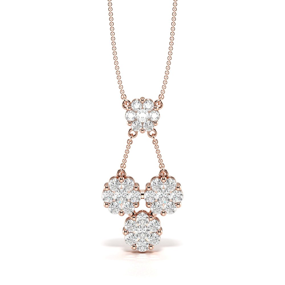 Pave Setting Cluster Drop Diamond Statement Necklaces (25.50mm X 13.40mm)