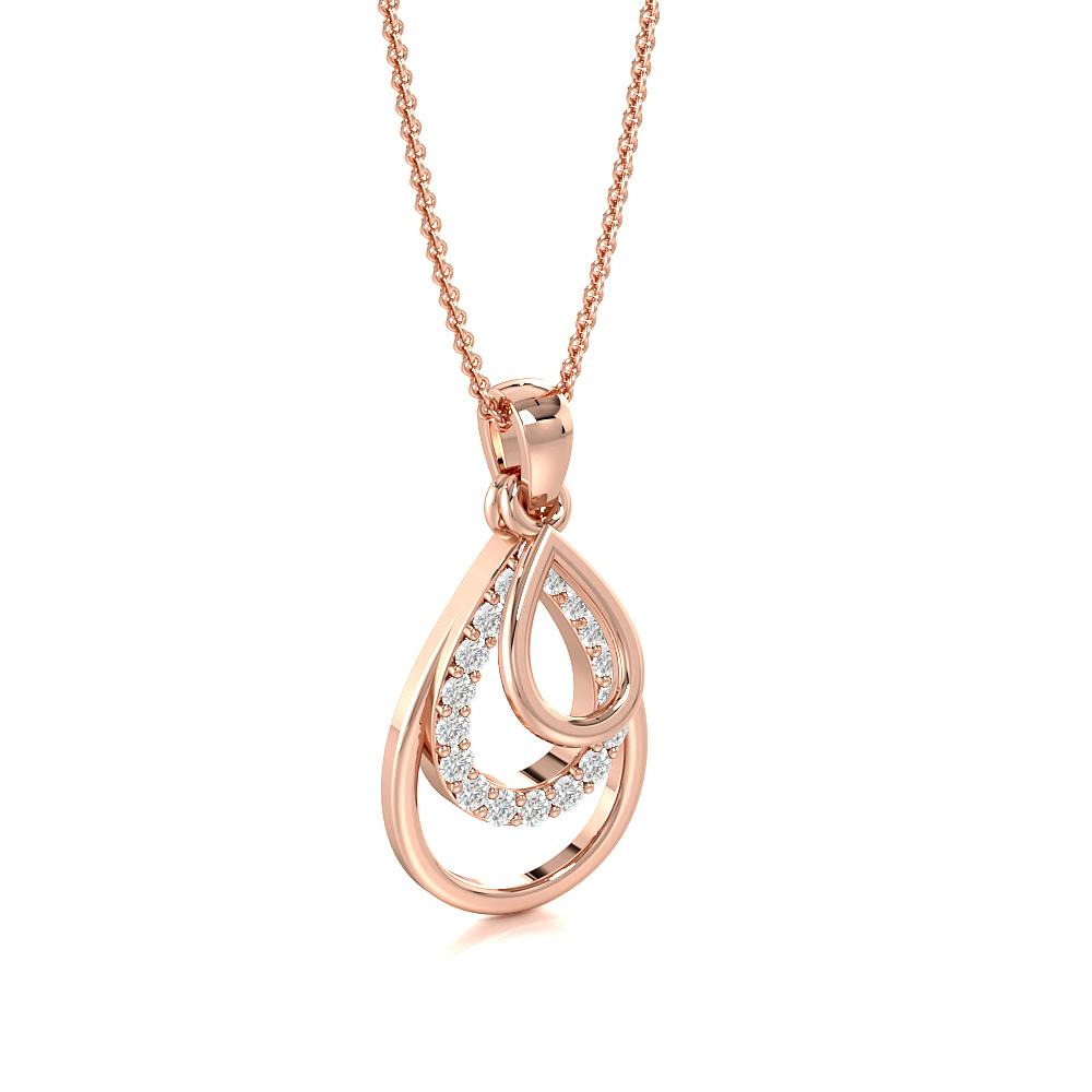 Pave Setting 3 Tear Drop Diamond Statement Necklaces (18.00mm X 9.00mm)