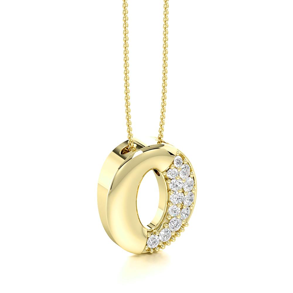 Pave Setting Oval Diamond Circle Pendant Necklace (14.00mm X 12.80mm)