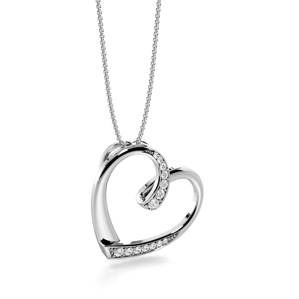 Pave Setting Round Diamond Dropping Diamond Heart Necklace  (18.50mm X 19.00mm)