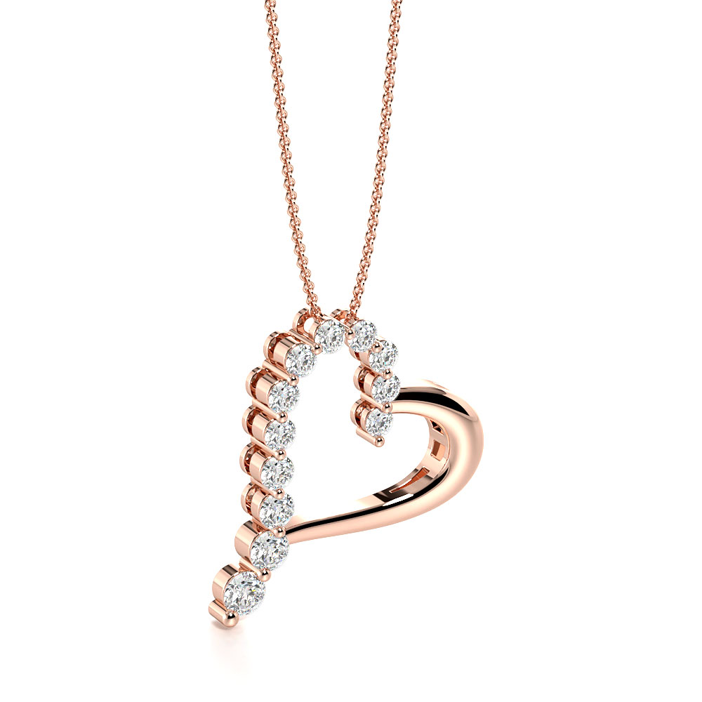 2 Prongs Round Diamond Exclusive Style Diamond Heart Necklace  (19.50mm X 18.80mm)